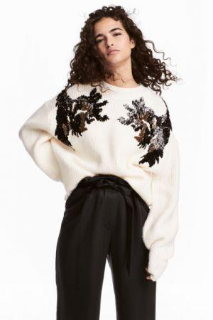 Sweter Z Cekinowym Haftem H&M 149,90 Zł