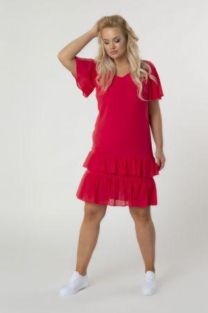 Tiulowa Sukienka Z Falbankami Na Dole 152 Zł