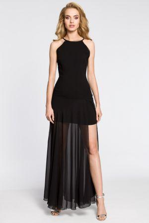 Wieczorowa Sukienka Maxi Z Tiulowym Dołem - Czarna 145,99 Zł