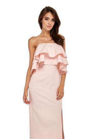 Wieczorowa Sukienka Z Rozcięciem - Różowa 229,00 Zł