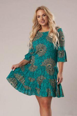 Wzorzysta Sukienka Z Falbanami Boho 157 Zł