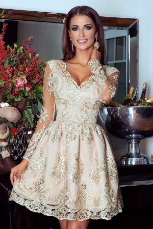 Złota Sukienka Na Wesele, Elegancka Koronkowa Rozkloszowana - Amelia