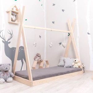Tipi Drewniane Łóżko Dziecięce Domek wyższy daszek