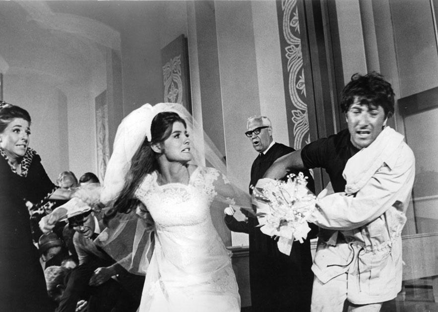 Katharine Ross et Dustin Hoffman dans le film Le Lauréat de Mike Nichols en 1967