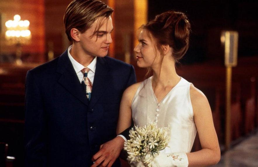 Leonardo Dicaprio et Claire Danes dans le film Romeo + Juliet de Baz Luhrmann en 1996
