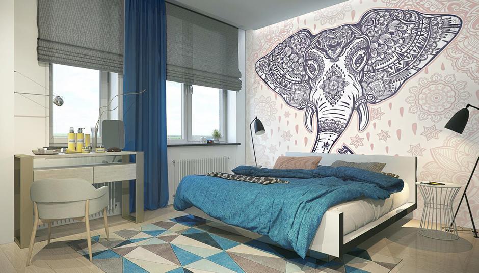 Sypialnia w stylu skandynawskim z fototapetami.