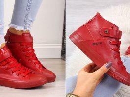 Damskie czerwone sneakersy