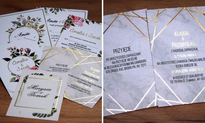 Zaproszenia weselne złote